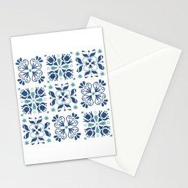 Blue Azulejos Flower Tiles Pattern Stationery Cards