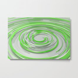 Glowing green concentric spirals on white Metal Print