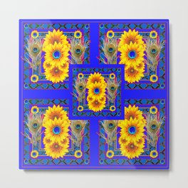 BLUE PEACOCK  SUNFLOWERS DECO JEWELED ABSTRACT Metal Print