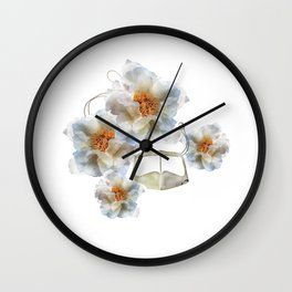 White peony and Mask Wall Clock