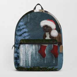 Christmas, Cute bull terrier with christmas hat Backpack