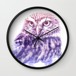 OWL SUPERIMPOSED WATERCOLOR Wall Clock