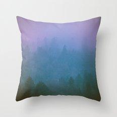 Fog Forest - Green Foggy Redwoods Throw Pillow