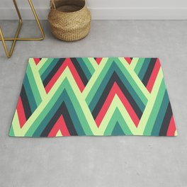 ZIG ZAG yellow, green, blue, black red Shapes Rug