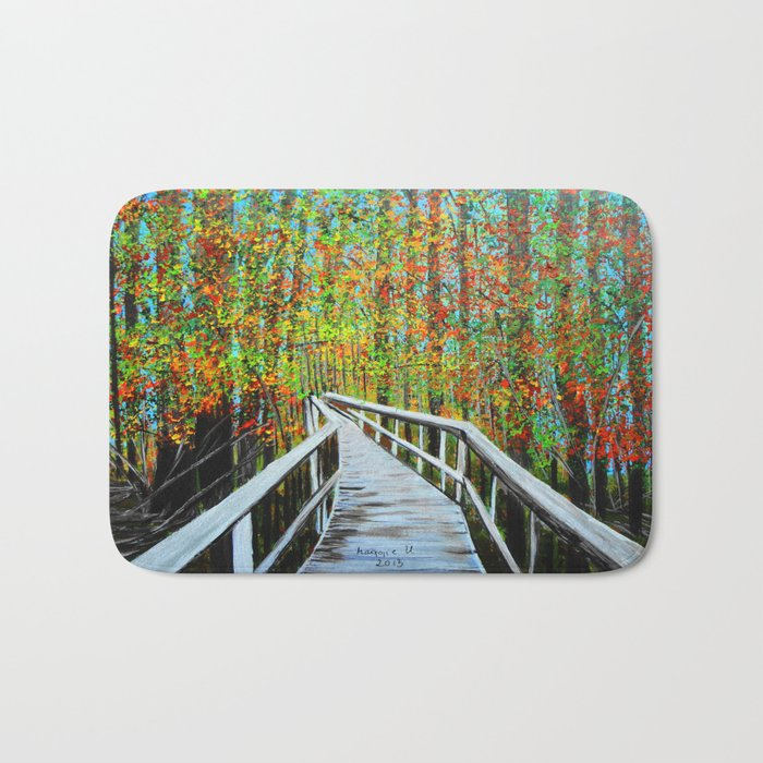 Walkway  in the woods  Bath Mat