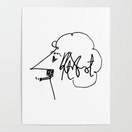 Vonnegut Self Portrait Artwork, Design for Wall Art, Prints, Posters, Tshirts, Bags, Women, Men, Kid Poster