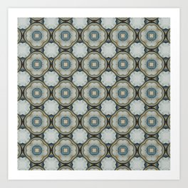 green blue floral scroll pattern Art Print