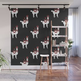 Christmas Llama Pattern on black Wall Mural