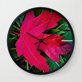 Lone Red Leaf Wall Clock
