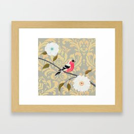 Bird - Song of the Finch Coral  Framed Art Print