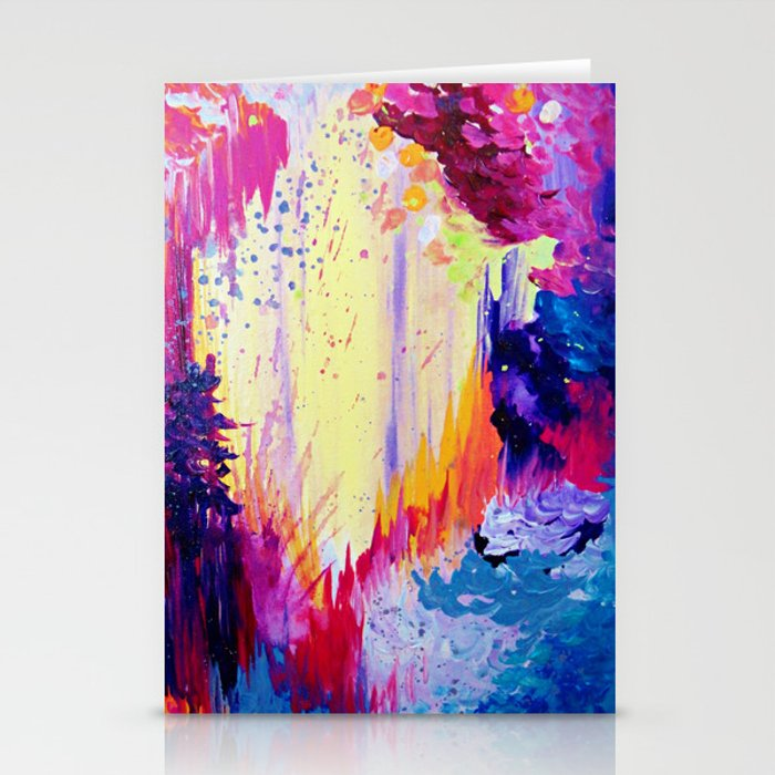 In Times Of Chaos Intense Nature Abstract Acrylic Painting Wild Rainbow Volcano Waves Fine Art Stationery Cards By Ebiemporium