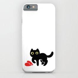 black cartoon kitten with broken heart iPhone Case