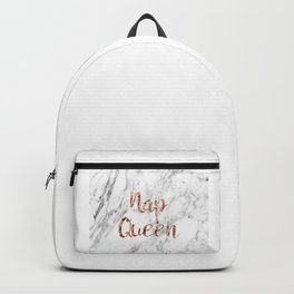 Nap queen - rose gold on marble Backpack