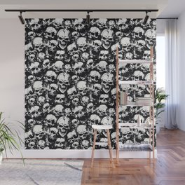 Skulls Crying in The Darkness - Seamless Pattern - Black & White Color Model Wall Mural