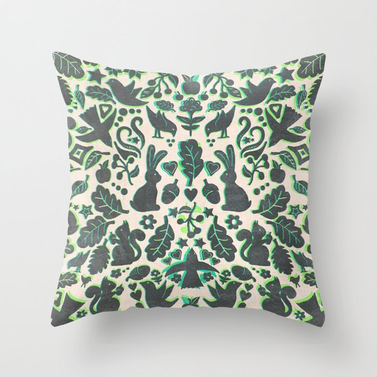 Two Rabbits - folk art pattern in grey, lime green & mint Throw Pillow