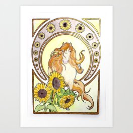 Sunflowers and horse Art Print