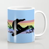 snowboard Mugs featuring Off Piste Snowboard by Paul Simms
