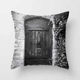 Doors of the World | Wooden Door in France, Europe | Black & White Photography | Travel Photography | Photo Print | Art Print Throw Pillow