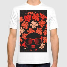 Afro Diva : Coral Red Mens Fitted Tee White MEDIUM