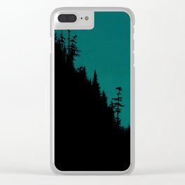 Int The Woods - Dark Forest Landsape - Teal Clear iPhone Case