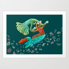 Surfing Monsters Art Print