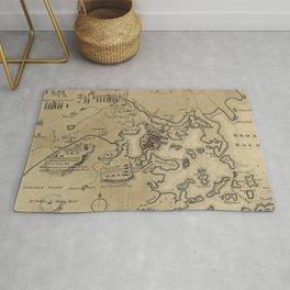 Vintage Boston Revolutionary War Map (1775) Rug