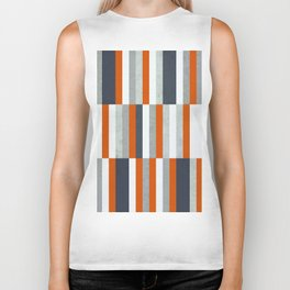 Orange, Navy Blue, Gray / Grey Stripes, Abstract Nautical Maritime Design by Biker Tank