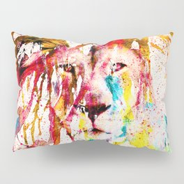 Wild Lion Sketch Abstract Watercolor Splatters Pillow Sham