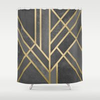 art deco Shower Curtains featuring Art Deco Geometry 1 by Elisabeth Fredriksson