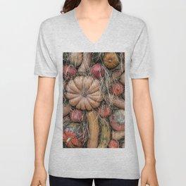 Pumpkins on hay Unisex V-Neck