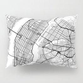 New York City Neutral Map Art Print Pillow Sham