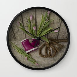 First tulips for mummy Wall Clock