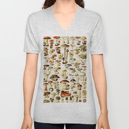French Vintage Nude Mushrooms Chart Adolphe Millot Champignons Larousse Pour Tous Poster Unisex V-Neck