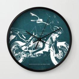 2010 Moto Guzzi Stelvio 1200 4V blue blueprint Wall Clock