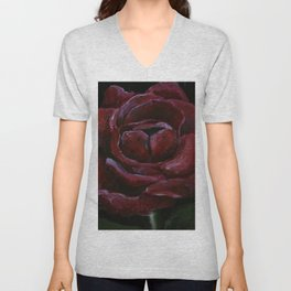 Flower, red rose, gothic beauti Unisex V-Neck