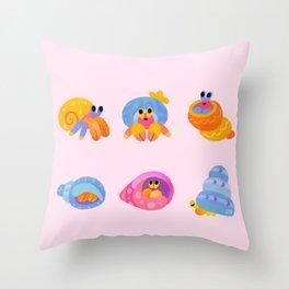 Hermit Crab - pink Throw Pillow