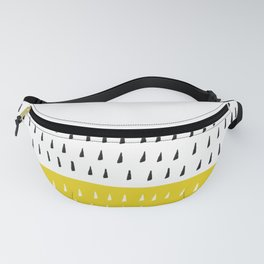 Black & white rain on yellow Fanny Pack
