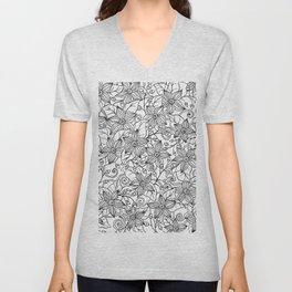 Modern black white hand drawn floral Unisex V-Neck