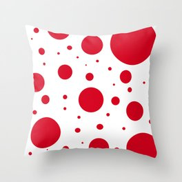 Red Bubbles Throw Pillow