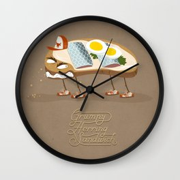 Grumpy Herring Sandwich Wall Clock