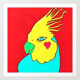 Heart Cockatiel Art Print