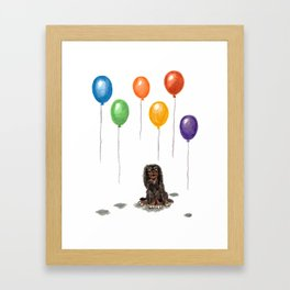 Toy Spaniel with balloons Framed Art Print