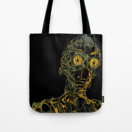 Geometric Black and Gold Robot Tote Bag