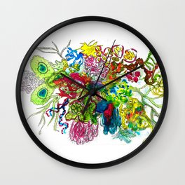 Pretty Germ invasion Ink and Black pen Wall Clock