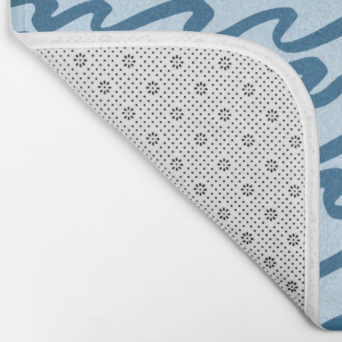 Abstract Metallic Sea Waves Saltwater Taffy Teal on Blue Raspberry Bath Mat