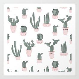 Elegant Cacti in Pots Pattern Art Print