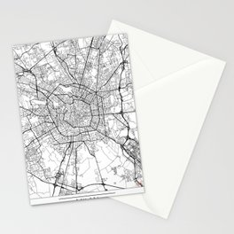 Milan Map White Stationery Cards