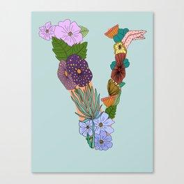 Floral Letter V Canvas Print