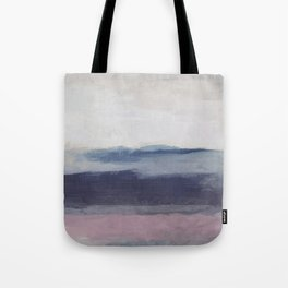Plum Purple Navy Lavender Blue Abstract Painting Wall Art Prints, Ocean Waves Horizon, Modern Wall Tote Bag