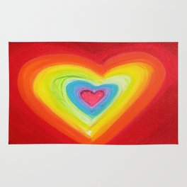 Rainbow Heart Love Rug